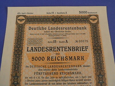 1939 Nazi German Pension Bank Bond Due Oct 1-1945-5000 Reichsmark with Swastika