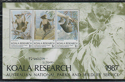 Koala Research Australian National Parks & Wildlife mini sheet number 2 signed