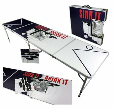 New 8' Aluminum Beer Pong Table Ice Bag Cooler Folding Tailgate Drinking Game 10