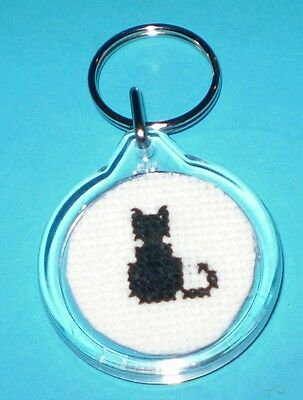 Lucky Black Cat Cross Stitched  Keyring