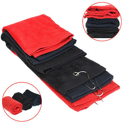 Tri-Fold Golf Bag Sports 40x60cm Hiking Cotton Towel With Hanging Carabiner Ring