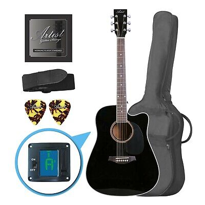 Artist LSPCBK Beginner Acoustic Guitar Pack With Cutaway - Black - New