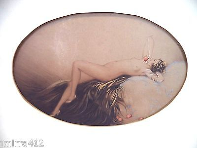 Stunning 1928 Unsigned Louis Icart 'eve' Aquatint Hand Colored Drypoint Etching!
