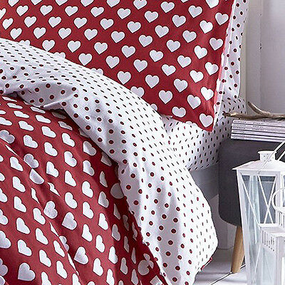 Catherine Lansfield Home Brushed Hearts 100% Brushed Cotton Fitted Sheet, Red