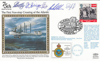 75th Anniv 1st Non - Stop Crossing of the Atlantic, Flown Hercules Crew Signed