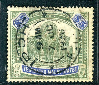 FEDERATED MALAY STATES- 1925 $5 Green & Blue.  A good used example Sg 80