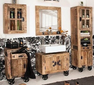 badezimmer set rustic schrank kommode spiegel mangoholz massiv shabby 5 teilig eur. Black Bedroom Furniture Sets. Home Design Ideas
