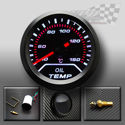 "OIL TEMPRATURE GAUGE WHITE LED SMOKED DIALS FACE 52mm / 2"" UNIVERSAL AUTO CAR"