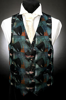 W - 527 Abstract Green And Black Mosaic Formal Wedding Waistcoat