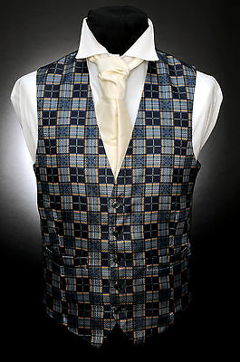 W - 528 Green And Gold Checkered Formal Wedding Waistcoat