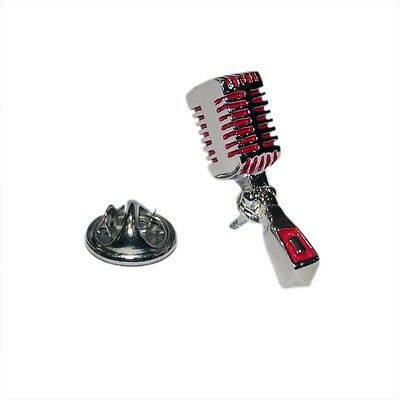 Red & Silver Retro Studio Microphone Lapel Pin Badge Shirt Collar Brooch Mic