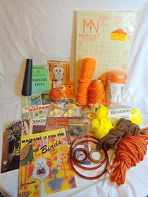 Large Macrame Lot Vtg 1970 Knotting Board Cords Rings Books Owl Eyes Butterflies