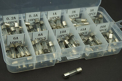 100 pcs 5x20mm 0.2A-20A Fast Blow Glass Fuse Amp Quick Blow Glass Tube Fuse Kit