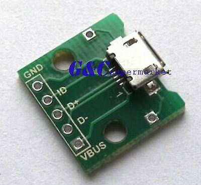 10PCS  MICRO USB to DIP Adapter 5pin female connector B type pcb converter M80