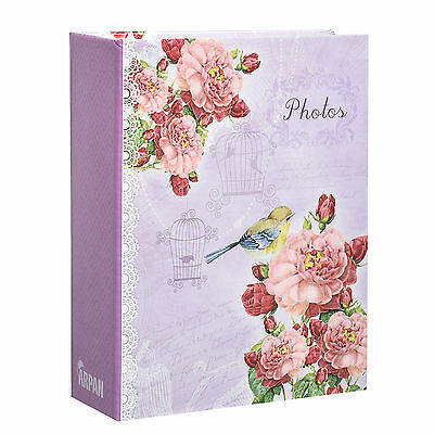 Small Purple Vintage Bird 6x4 Photo Album Slip in Case for 100 Photos AL-9136