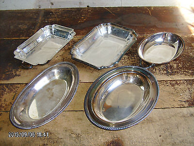 lot of (5) very nice silverplate serving dishes