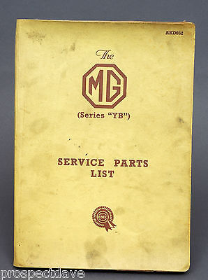 The MG ONE and a QUARTER Litre YB Service Parts List AKD832
