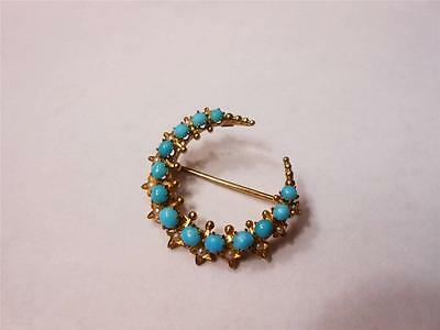 Victorian 9ct Gold Turquoise and Seed Pearl Crescent Brooch