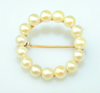 """Vintage 14K Yellow Gold Small 3/4"""" Circle Pin With 3.3 Mm Pearls From Japan"""