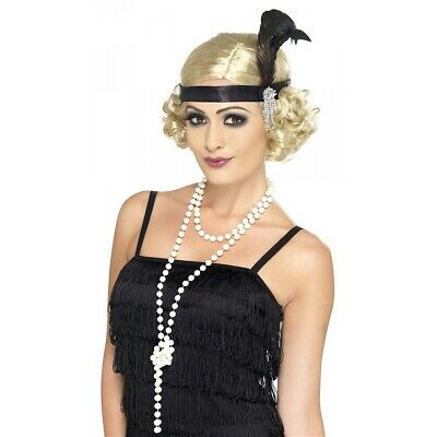 Fake Pearl Necklace 20s Flapper Girl Costume Accessory Halloween Fancy Dress