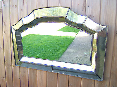 Vintage (art deco) wall mirror unusual small glass sections recessed     ODD 1