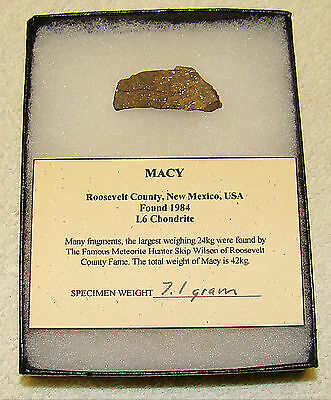 Macy Meteorite End Cut L6 Chondrite From New Mexico 7.1 Grams