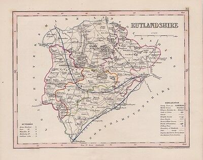 Antique map Rutlandshire.c1860 by J.Archer London.Hand coloured Steel engraving.