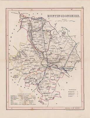 Antique map Huntingdonshire.c1860 by J.Archer London.Hand coloured Steel engr.