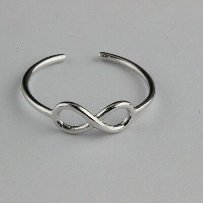 Womens 925 Sterling Silver infinity Plain Knuckle Toe Ring Adjustable Adjustable