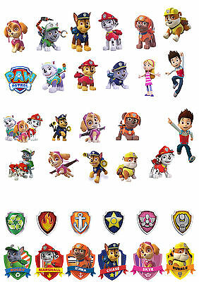 34 Stand Up Paw Patrol Birthday Premium Wafer Paper Edible Cake Toppers