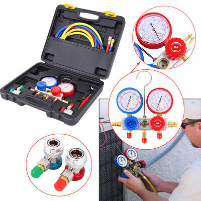 Refrigeration Air Conditioning AC Diagnostic Manifold Gauge Tool Set R134A R410A