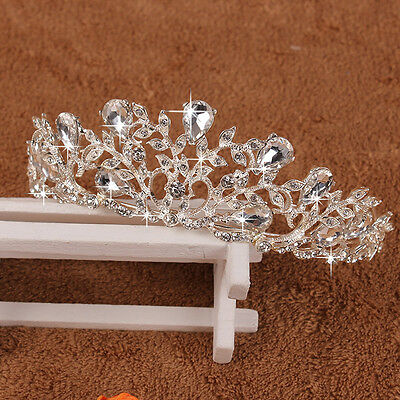Crystal Bridal Tiara Crown Veil Headpiece Rhinestone Wedding Prom Pageant Crowns