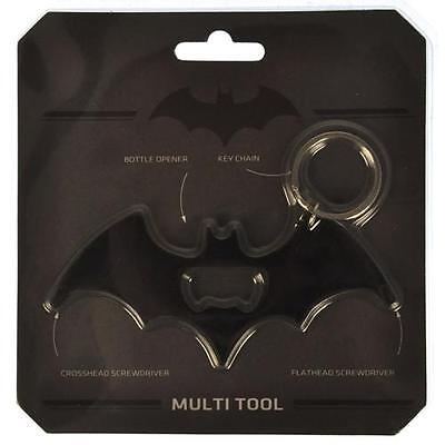 Batman - Logo Matt Black Metal Multi Tool Keyring - New & Official DC Comics