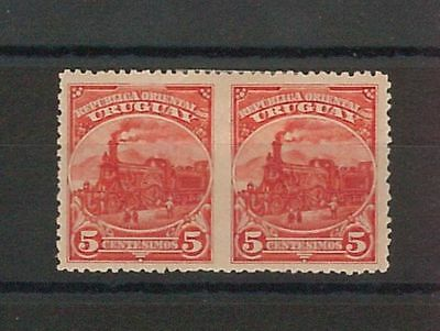 TRAINS  - POSTAL HISTORY - URUGUAY : 1895 stamp pair MISSING PERFORATION