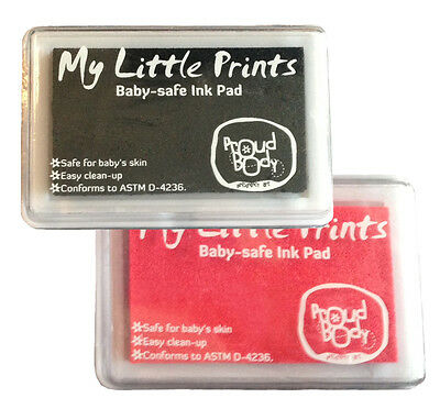 BABY SAFE NONTOXIC Foot Print Handprint INK PAD Black + Pink Combo New, Sealed