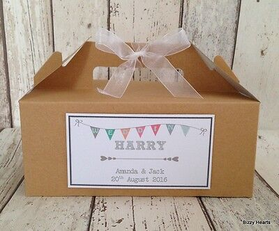 Personalised Wedding Favour Childrens Activity Brown Kraft Gift Box Bag Party