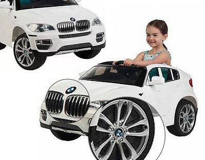 Kids Battery Powered White BMW Car Electric Power Wheels Ride On