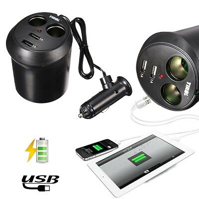 Accendisigari Auto Presa 12V 2 Way Car Cigarette Lighter Socket  2 USB Charger