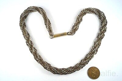 ANTIQUE ENGLISH EARLY VICTORIAN SILVER TWIST CHAIN NECKLACE c1840