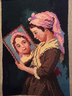 "Vintage Completed Needlepoint Canvas Art Tapestry 12"" x 16"""