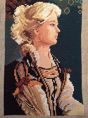 """Vintage Completed Needlepoint Canvas Art Tapestry 12"""" x 16"""""""