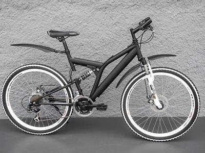 "26"" Zoll Mountain Bike Fahrrad Full Suspension MTB 21 Gang SHIMANO schwarz matt"