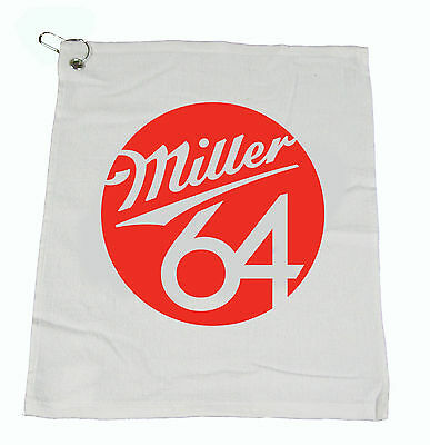 "1 dozen 12 - MILLER 64 Beer Bar Golf Fishing Hand COTTON WHITE Towel 15""X18"" NEW"