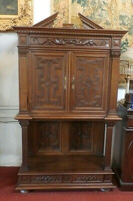Antique French  Wine Liquor Cabinet Monk's Vestry 19th Century Walnut Carved