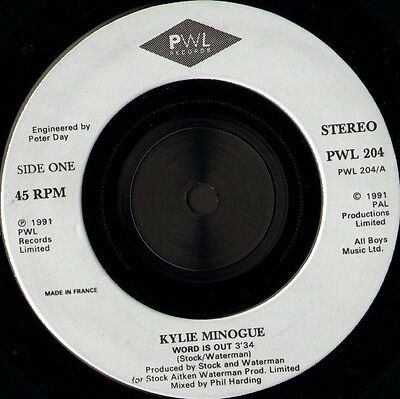"""KYLIE MINOGUE word is out 7"""" WS EX/ pwl records PWL 204"""