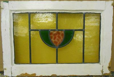 "OLD ENGLISH LEADED STAINED GLASS WINDOW Cute Abstract Design 20.5"" x 14"""