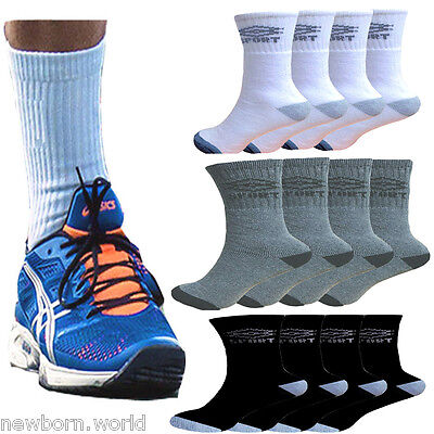 12 Pairs Mens Cotton Rich Sport Socks Work Socks Size 6-11 Black White Mix Color