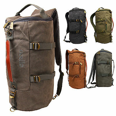 Large Mens Vintage Canvas Ocello College School Hand Luggage Hiking Backpack Bag