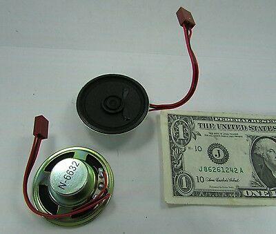 "2 Small Memotronics 2"" 50mm Dia. 3-Wire Mini Speakers 40 Ohms .2W, N-6632, N6632"