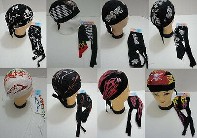 Cotton Skull Cap Tribal Flame Money Skulls Biker Motorcycle Bandana Doo Du Rag